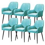 Home Kitchen Chairs Set of 2, 3, 4, 6 Dining Chair Velvet Upholstered Living Room Dining Room Chair with Backrest Metal Chair Legs Accent Side Chair Beautiful Design (Color : Blue, Size : 6pcs)