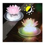 gujiu 2 Pack Solar Pond Lights Lotus Floating Pool Lights Led Color Changing Waterproof Pond Submersible Decoration Lamp Lights Outdoor Swimming Pool (Color : 1)