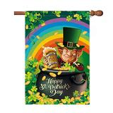 LuckyTagy St Patricks Day Flags 28x40 Double Sided,Burlap St Patrciks Day House Flag Funny Leprechaun with Gold Coins Pot,Shamrocks with Rainbow Happy St Patricks Day Decorations