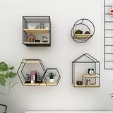 ZCME-power Metal Floating Shelves, Wall Shelf 4-Piece Set Wood Wall Storage Shelves, Wall Mounted Shelf Organizer for Living Room, Bedroom, Kitchen, Bathroom, Office,Black