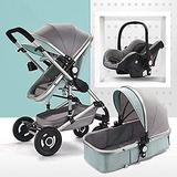 MingrXieh Portable Stroller, Foldable Baby Stroller,Two-Way,3 in 1 Baby Carriage, Shock-Absorbing Pushchair Stroller,with Baby Basket for Newborn Pram (Color : Silver Tube-Green)