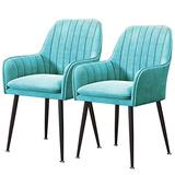 Home Kitchen Chairs Set of 2, 3, 4, 6 Dining Chair Velvet Upholstered Living Room Dining Room Chair with Backrest Metal Chair Legs Accent Side Chair Beautiful Design (Color : Blue, Size : 2pcs)