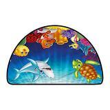 Half Round Contemporary Indoor Area Rugs Aquarium Exotic Happy Ocean World W 47 Inch x L 31 Inch Kitchen Mat for Living Room