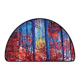 Half Round Contemporary Synthetic Rug Forest Oil Painting View Autumn Forest Modern Impressionism Artwork Print Paprika Navy Blue and Yell W 35 Inch x L 24 Inch Kitchen Mat