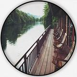 Wooden Chairs in Floating Hotel on The River Kwai in Thailand,Round Rug Carpet/Rug Non-Slip Backing Round Area Rug Bedroom Study Children Playroom Carpet Floor Mat 6'Round