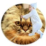 Round Kids Rug Round Carpet Non Slip Round Area Rugs Washable Floor mat Stupid Persian cat. 31.5x31.5IN