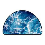 Half Round Living Room Rugs Churning Ocean Water Shot from Above deep Blue Color of deep Ocean W 35 Inch x L 24 Inch Polyester Anti-Slip Floor Rug