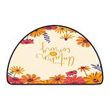 Half Round Outdoor Rugs Autumn is Coming Hand Drawn with Flower Frame Floral W 30 Inch x L 18 Inch Long Kitchen Mat Bath Carpet