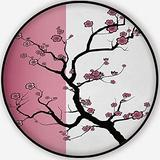 of A Japanese Cherry Tree in Blossom,Round Rug Carpet/Rug Non-Slip Backing Round Area Rug Bedroom Study Children Playroom Carpet Floor Mat 6'Round