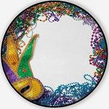 A Border Made of A Gold,Area Rug Purple and Green Mardi Grasand Blue Non-Slip Backing Round Area Rug Living Room Bedroom Study Children Playroom Carpet Floor Mat 5'Round