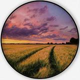 The Sun Sets Over A Green and Gold,Area Rug Flowing Crop of Wheat Or Non-Slip Backing Round Area Rug Living Room Bedroom Study Children Playroom Carpet Floor Mat 3.3'Round