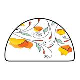Half Round Abstract Design Area Rug Floral Decor Bouquet with Swirled Branches Romantic Paper Flowers Origami Autumn Blooms Image Mint O W 47 Inch x L 31 Inch Kitchen Mat