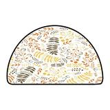 Half Round Multi-Color Modern Area Rug Floral Pattern with Autumn Branches W 47 Inch x L 31 Inch Kitchen Mat for Living Room