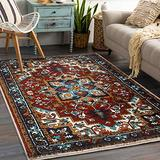 YoKii Persian Oriental Area Rug 3x5 Red Traditional Medallion Boho Floral Throw Rug with Rubber Backing Washable Faux Wool Soft Shag Vintage Rug for Kitchen Bedroom Living Room Entryway(3x5, Red)