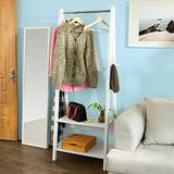 Haotian White Modern Clothes Rail Stand Rack with Two Storage Shelves, Wood Coat Rack Hanging Rail, FRG59-W