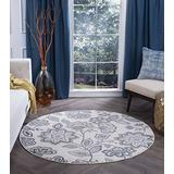 Tayse Emmalyn Cream 8 Foot Round Area Rug for Living, Bedroom, or Dining Room - Transitional, Floral
