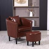 Accent Chair Living Room Faux Leather Barrel Chair Club Chair Small Arm Chair Tub Chair Upholstered Barrel Chair and Footrest Set for Living Room Bedroom Guestroom (Dark Brown)
