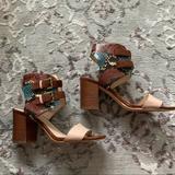 Nine West Shoes | Nine West Snakeskin & Leather Ankle Strap Heels | Color: Cream/Tan | Size: 9