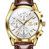 OLEVS Fashion Mens Waterproof Sport Watches Leather Band Analog Watch Gold Tone Steel Quartz Wristwatch Men White Dial Chronograph Watch with Luminous Pointer Date