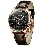 Watches for Men Automatic with Luminous Mechanical Self Winding Mens Wrist Watch Brown Leather Watch Breathable Brown Leather Strap Waterproof Day/Month/Year/Week Display Brown Strap-Black dial