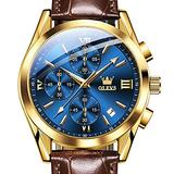 Chronograph Watches for Men,Olevs Japanese Movement Mens Sport Watches Blue Dial Watch Waterproof Date Analog Quartz Wristwatch Luxury Gold Tone Steel Leather Strap Watch Men