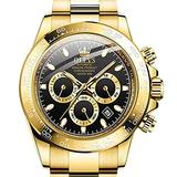Gold Mens Mechanical Watches,Swiss Brand OLEVS Self Wind Automatic Wristwatch Men Gold Stainless Steel Sport Chronograph Watches Luxury Black Dial Waterproof Date Calendar Watches for Men