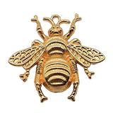 SOCBEOSTORE20-Handmade Charms 6Pcs Bumble Bee Charms Queen Bee Charm Queen Bee Pendant for Jewelry Making 3 Colors Plated Vintage Jewelry Accessories 38x40mm (Gold-color)