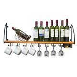 LSNLNN Wine Racks,Organize Kitchen Wood Wall Mounted Wine Racks/Shelf Kitchen Wine Bottle Storage Holder Wall Wine Glass Goblet Shees, Gloden/Black/Commercial Cellars Clubs,Black,100Cm