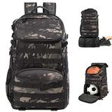 TRAILKICKER 35L Soccer Backpack with Ball Compartment and Bonus Attachable Laundry/Shoe Bag, Outdoor Sports Backpack Gym Bag for Basketball, Soccer, Football & Volleyball (Camouflage)