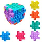 6-Piece Cube Puzzle Set Push Pop Fidget Toy, Multisensory & Portable Board Game, Fun for Boys Girls and Adults, Stress Reliever & Anti-Anxiety Squishy, for Autism ADD ADHD. TikTok hot Game