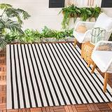 Ailsan Boho Stripe Outdoor Rug 3' x 5' Cotton Woven Black and Cream Throw Rugs Runner Farmhouse Layered Welcome Doormat Washable Reversible Area Rug Bathroom Floor Mat for Bedroom Living Room Kitchen