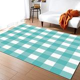 Contemporary Non-Slip Area Rug Blue-Green and White Gradient Plain Simple Grid Theme Printed Rugs Art Carnival Rubber Backing Living Room Floor Mats Rectangle Area Rug Carpet for Indoor 2.7'x5'