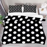 FOLPPLY Black White Polka Dot Duvet Cover Set, California King Bedding Set 3 Pieces, Comforter Sheet Set with Pillow Shams Room Decor for Boys Girls Teens Adults
