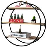 Rustic Floating Shelves,3 Tier Decorative Wall Shelves Wood and Metal Hanging Shelf for Bedroom, Living Room, Bathroom, Kitchen, Office and More(Round)