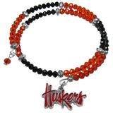Nebraska Cornhuskers Crystal Memory Wire Bracelet - Siskiyou Buckle CSWB3