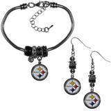 Pittsburgh Steelers Euro Bead Earrings and Bracelet Set - Siskiyou Buckle FEBE160BBR
