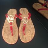 Michael Kors Shoes | New Michael Kors Flip Flops Size 8m. | Color: Red | Size: 8m