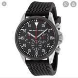Michael Kors Accessories | Michael Kors Chronograph Black Dial Black Rubber | Color: Black/Gray | Size: Os