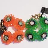 J. Crew Jewelry | J. Crew Zinnia Crystal Flower Braclets | Color: Green/Orange | Size: Os