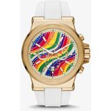 Oversized Dylan Gold-tone And Silicone Pride Watch - White - Michael Kors Watches