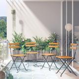 vidaXL Folding Bistro Chair 4 pcs Solid Acacia Wood