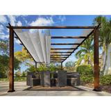 Paragon-Outdoor Aluminum Pergola w/ Canopy Aluminum/Metal in Brown/Gray, Size 137.795 W x 137.795 D in | Wayfair PR11WD2G