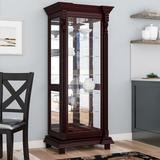 Astoria Grand Ansel Curio Cabinet Wood/Glass in Brown/Red, Size 75.0 H x 32.0 W x 21.0 D in | Wayfair ATGD1538 38255231