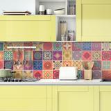 """Bungalow Rose 6"""" x 6"""" PVC Peel & Stick Field Tile Vinyl/PVC in Red, Size 6.0 H x 6.0 W x 0.1 D in   Wayfair 3EB2D0D04D8A4206B36B781A76BD7E5D"""