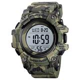 Big Dial Digital Watch S Shock Men Military Army Watch Water Resistant LED Sports Watches (Medium, Camouflage Green)