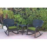 Windsor Black Wicker Rocker Chair And End Table Set With Sage Green Chair Cushion- Jeco Wholesale W00214_2-RCES029