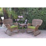 Windsor Honey Wicker Rocker Chair And End Table Set With Sage Green Chair Cushion- Jeco Wholesale W00212_2-RCES029