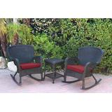 Windsor Black Wicker Rocker Chair And End Table Set With Red Chair Cushion- Jeco Wholesale W00214_2-RCES030