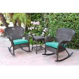 Windsor Espresso Wicker Rocker Chair And End Table Set With Turquoise Chair Cushion- Jeco Wholesale W00215_2-RCES032
