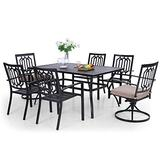 """MFSTUDIO 7-Piece Metal Outdoor Patio Dining Set with 1 Rectangular Table and 4 Stackable Chairs, 2 Swivel Chairs,1.57"""" Umbrella Hole,Black"""